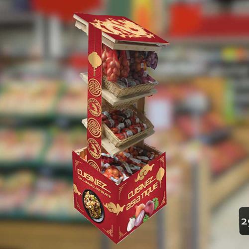 Habillage d'un présentoir avec des visuels en carton
